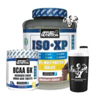 iso whey with bcaa 240 tablets and a shaker bottle
