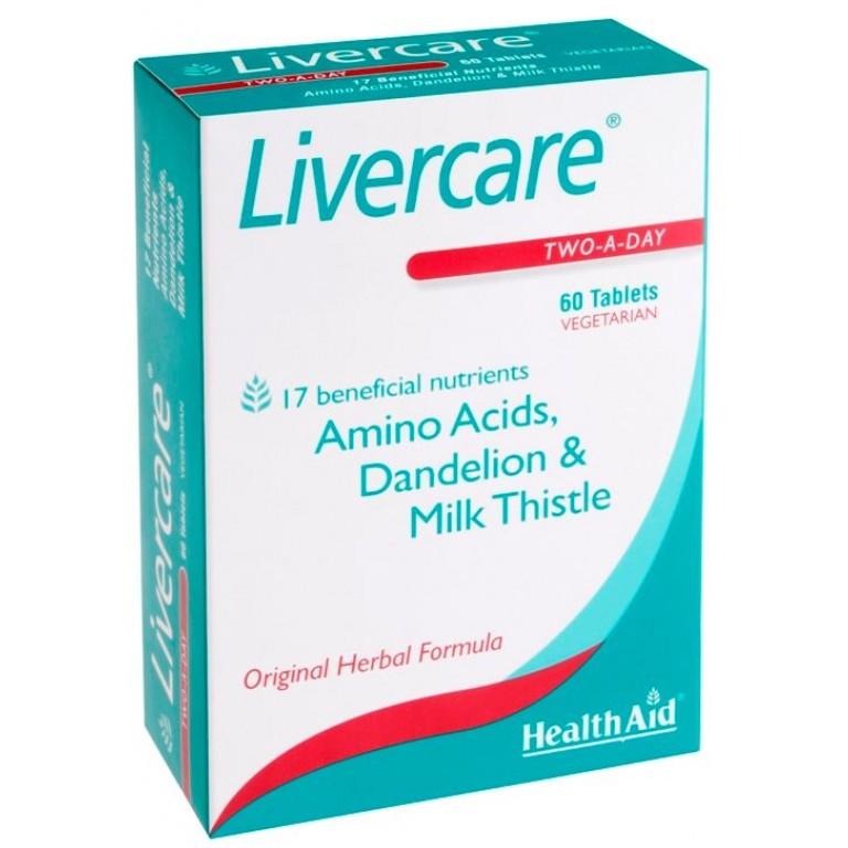 HealthAid Livercare with Amino Acids & Milk Thistle 60 Tablets.
