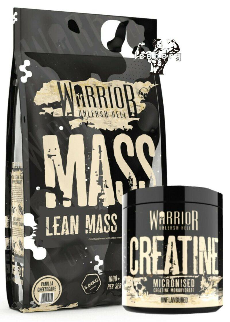 Warrior Mass Gainer 5kg Lean Muscle Weight Gain 3 Stage Protein & Creatine 300g