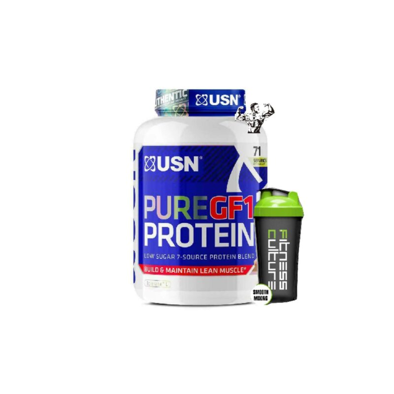 USN Pure GF-1 Protein Low Carb 2kg Low Sugar 7 Source Protein Blend And SHAKER