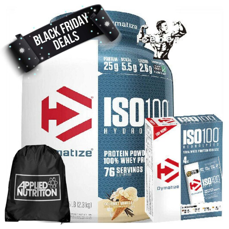Dymatize ISO100 Hydrolyzed Whey Protein Isolate 2.2kg & ISO 4x31g Pack & BAG!