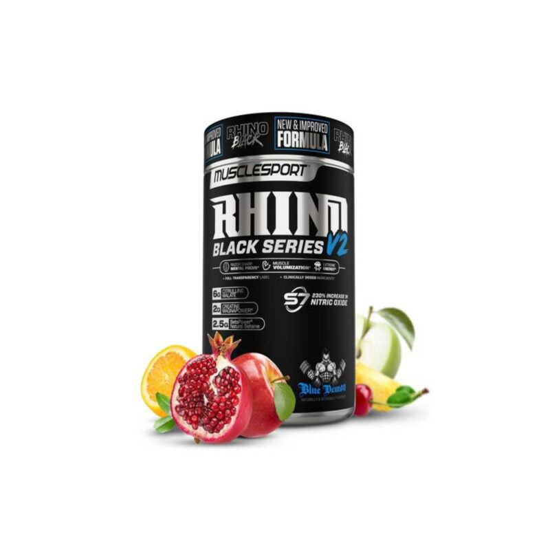 MuscleSport Rhino Black v2 sunset punch 460g strong pre Workout