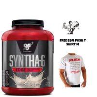 BSN Syntha 6 Edge Whey Protein - Low Sugar 1.8kg - 48 Serv & Push T shirt M.